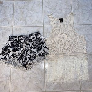 Angel Biba Shorts S 8 Forever 21 Top  S Lot of 2